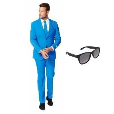 Blauw heren feest outfit maat 58 (4xl) gratis zonnebril
