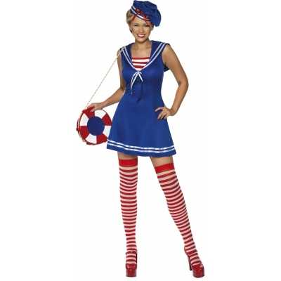 Blauw sailor jurkje baret