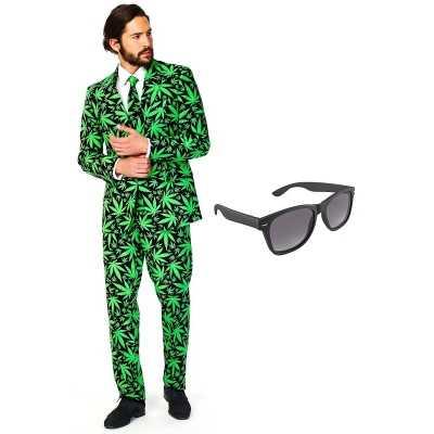 Cannabis print heren feest outfit maat 54 (xxl) gratis zonnebril