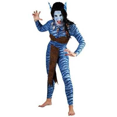 Carnaval Blauwe jungle strijdster outfit vrouwen