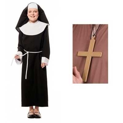 Carnaval nonnen jurk kruis meisjes