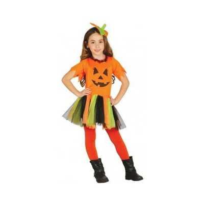 Carnavalskleding oranje pompoen jurkje meisjes