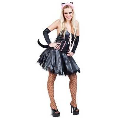 Carnavalskostuum sexy kat/poes zwart