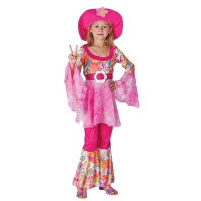 Complete roze hippie outfit meiden