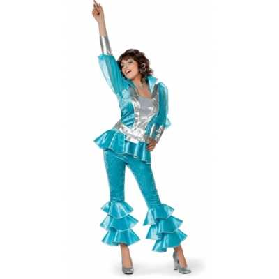 Dames disco feest outfit blauw/zilver