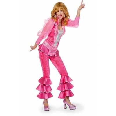 Dames disco feest outfit roze/zilver
