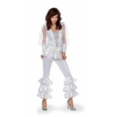 Dames disco feest outfit wit/zilver