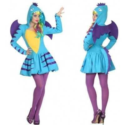 Dierenpak blauwe draak verkleed feest outfit/jurk dames