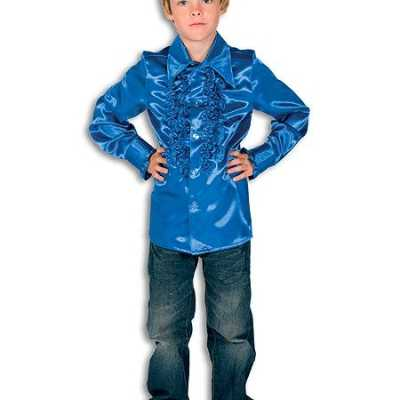 Disco shirt kobaltblauw jongens