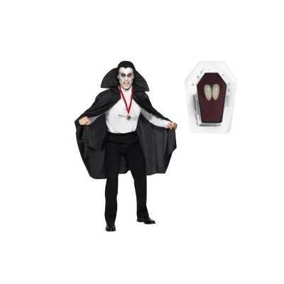 Dracula cape zwart inclusief hoektanden volwassen