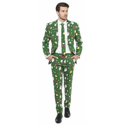 Feest feest outfit kerstmis print groen