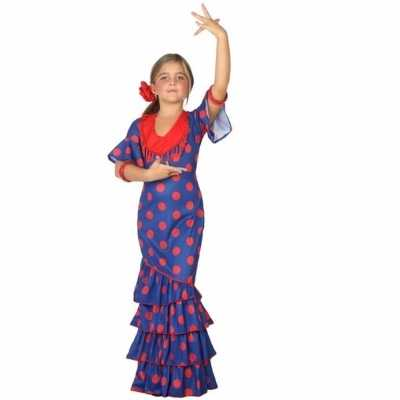 Flamenco danseres feest outfit blauw rood