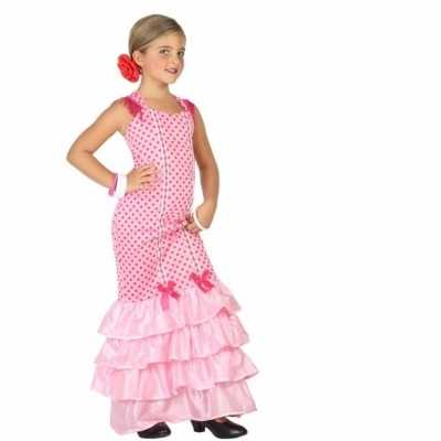 Flamenco danseres feest outfit kinderen roze