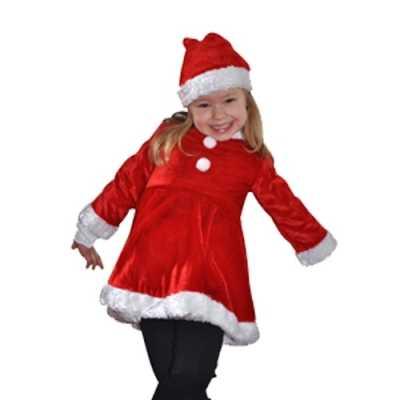 Fluwelen rood witte meisjes kerstjurkje