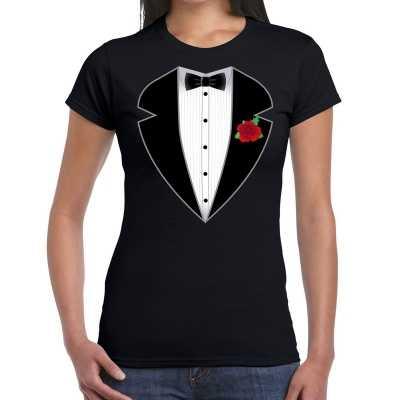 Gangster maffia outfit feest outfit t-shirt zwart dames