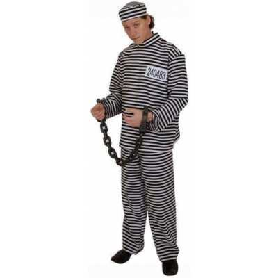 Gestreept gevangene feest outfit volwassene