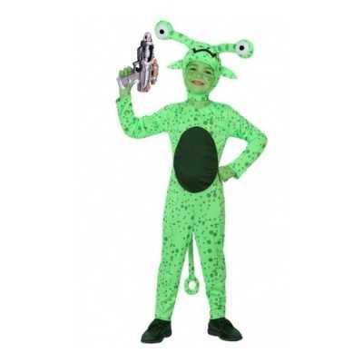 Groen alien feest outfit inclusief space gun kids