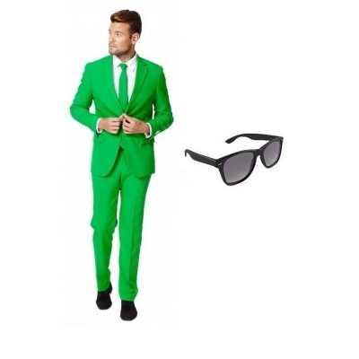 Groen heren feest outfit maat 52 (xl) gratis zonnebril