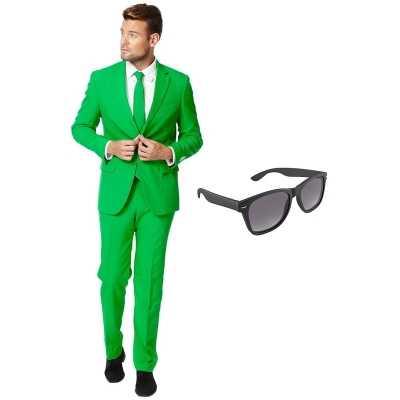 Groen heren feest outfit maat 54 (xxl) gratis zonnebril
