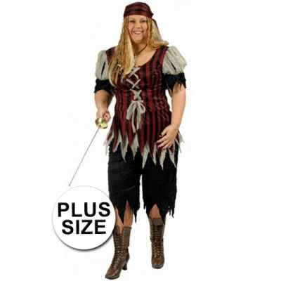 Grote maat dames piraten feest outfit