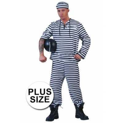 Grote maat gevangenen outfit gestreept pet