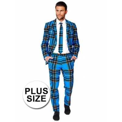 Grote maten business suit Schotse print