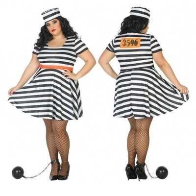 Grote maten gevangene/boef bonnie verkleed feest outfit dames