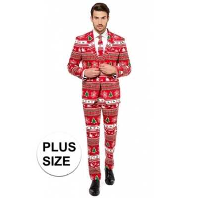 Grote maten heren feest outfit kerstboom print