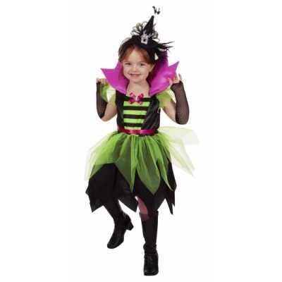 Halloween heksen jurk groen/zwart kinderen