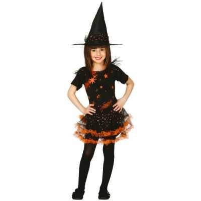 Halloween heksenjurk hoed kinderen oranje