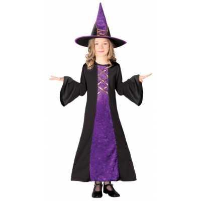 Halloween heksenjurk hoed kinderen paars