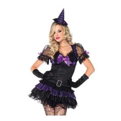 Heksen feest outfit zwart/paars dames