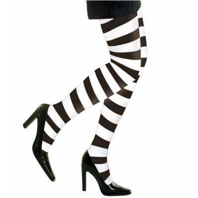 Heksen verkleedaccessoires panty maillot zwart/wit dames