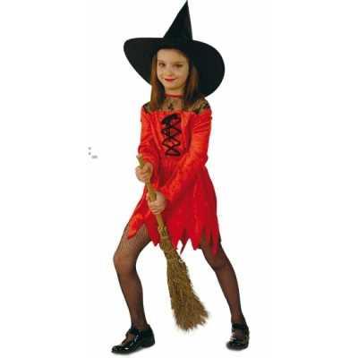 Heksen verkleedjurk rood meiden
