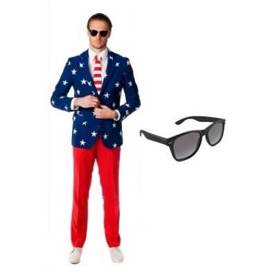 Heren feest outfit amerikaanse vlag print maat 50 (l) gratis