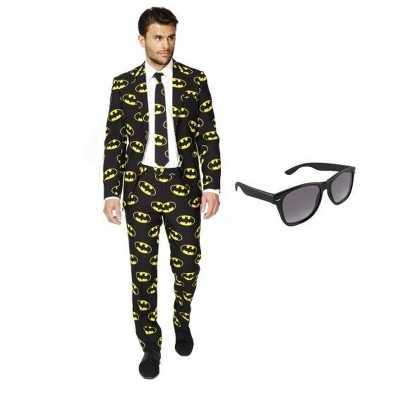 Heren feest outfit batman print maat 46 (s) gratis zonnebri