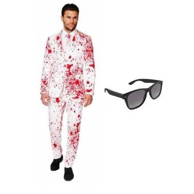 Heren feest outfit bloed print maat 50 (l) gratis zonnebri