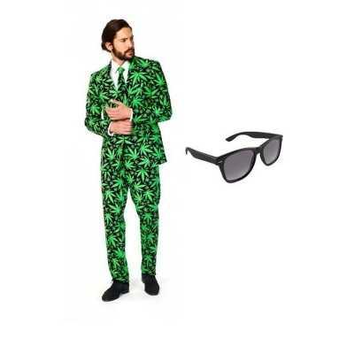 Heren feest outfit cannabis print maat 46 (s) gratis zonnebri