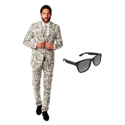 Heren feest outfit dollar print maat 54 (2xl) gratis zonnebri