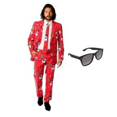 Heren feest outfit kerst print maat 52 (xl) gratis zonnebril