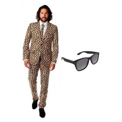 Heren feest outfit luipaard print maat 46 (s) gratis zonnebri