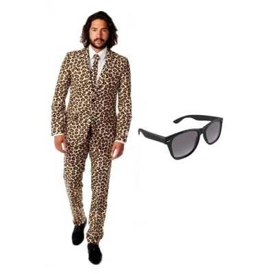 Heren feest outfit luipaard print maat 50 (l) gratis zonnebri