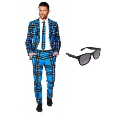 Heren feest outfit schotse print maat 52 (xl) gratis zonnebri