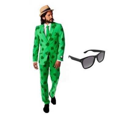 Heren feest outfit sint patricks day maat 56 (3xl) gratis zonnebr