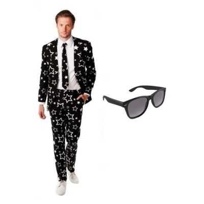 Heren feest outfit sterren print maat 54 (2xl) gratis zonnebr