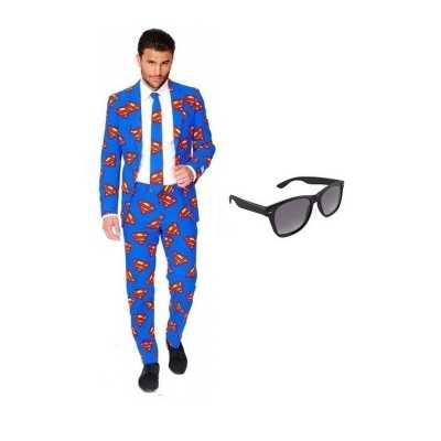 Heren feest outfit superman print maat 54 (2xl) gratis zonneb
