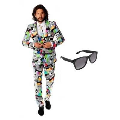 Heren feest outfit televisie print maat 50 (l) gratis zonnebr