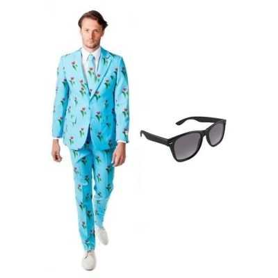 Heren feest outfit tulpen print maat 54 (2xl) gratis zonnebri