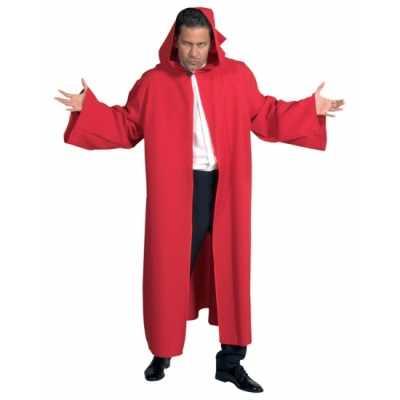 Heren mantel capuchon rood