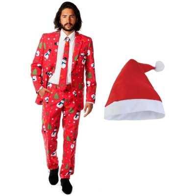 Heren opposuits kerst feest outfit rood kerstmuts maat 52 (xl)
